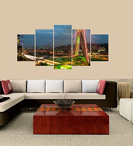 (PEACOCK JEWELS Premium Quality Canvas Printed Wall Art Poster 5 Pieces / 5 Pannel Wall Decor Bridge of Sao Paulo Painting, Home Decor Pictures - with Wooden)