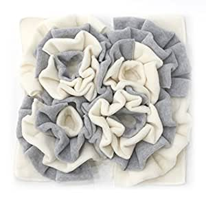 Nosework Nose Work Premium Blanket Play Snuffle Mat Scent Training for Perfect Natural Dogs - Encourages Natural Foraging Skills - Easy to Fill - Fun to Use - Perfect for Any (13.5X13.5, Grey&White)