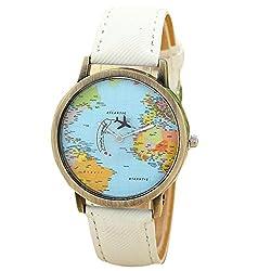 Womens Watch, Leegor Global Travel By Plane Map Watch Denim Fabric Band (White)