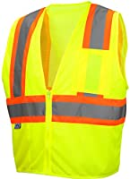 Pyramex RVZ2210X4 Lumen X Class 2 Safety Vest with Zipper, 4X-Large, Hi-Vis Lime