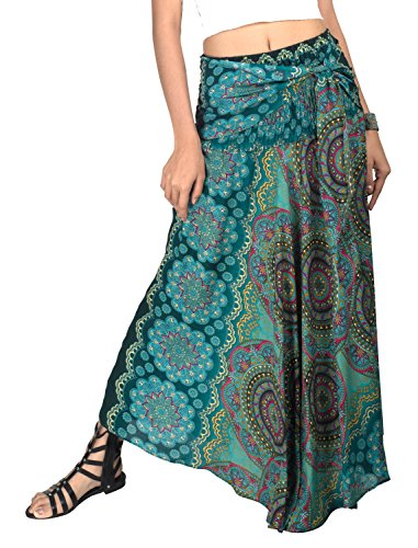 Gypsy Printed Skirt - Joop Joop 2 in 1 Maxi Skirt and Dress Bohemian Loose Flowing Boho Summer Travel Beach Festival Lounge Casual Skirt
