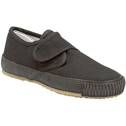 Dek Kids - Zapatillas Unisex de tela de cierre adhesivo y suela de goma natural para niños/jóvenes Negro