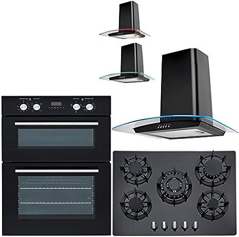 Sia 60 cm doble horno eléctrico, 70 cm cristal negro encimera de gas & Curved LED campana: Amazon.es: Grandes electrodomésticos