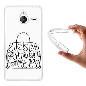 Funda Microsoft Lumia 640 XL, WoowCase [ Microsoft Lumia 640 XL ] Funda Silicona Gel Flexible Frase - Life Is Too Short To Carry Boring Bag, Carcasa Case TPU Silicona - Transparente