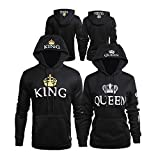 Bangerdei Matching Couple King and Queen His and Her Hooded Sweatshirt Pullover Black Women S + Men M