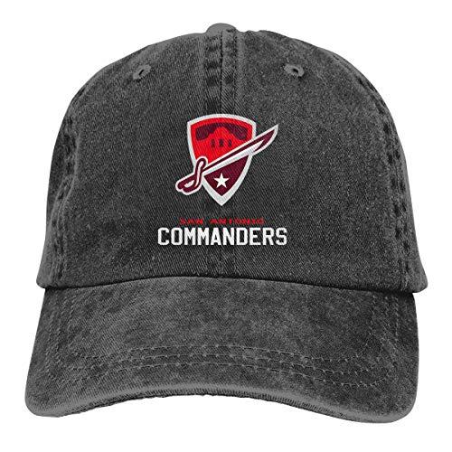 Sun Commander - HSWQQ San-Antonio Commanders Tshirt Texas Breathable Dry Denim Baseball Cap Sun Hat Black