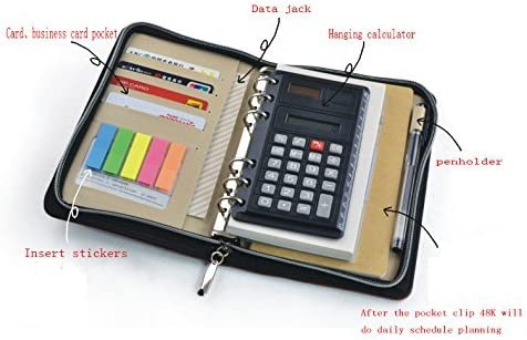 Black, A6 PU Leather Business Zippered 6-ring Padfolio Portfolio with Calculator and Writing Pad,Pagefinder Ruler,Clear PVC Card Bag include
