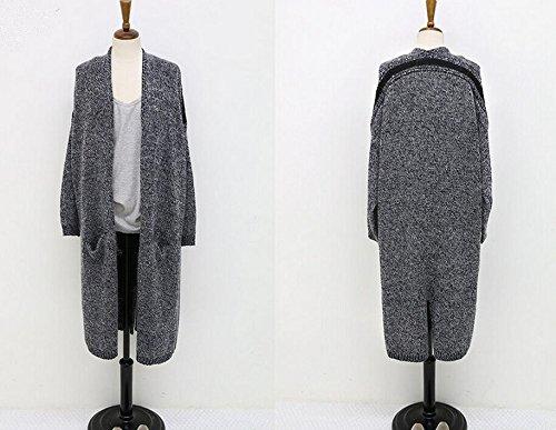 Mi Femme Gris Aeneontrue Lady Bonnetterie Longues Veste longue Casual Cardigan Tricotage Manches Coat OA5q75