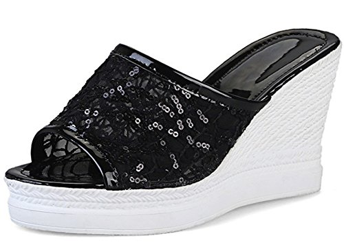 Showhow Vrouwen Comfortabele Lovertjes Mesh Peep Toe Mule Sandalen Zwart