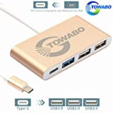 TOWABO 4-in-1 USB-C Hub with Type C, USB 3.0, USB 2.0 Ports for New MacBook 2015/2016 ,ChromeBook Pixel Devices Nokia N1,Nexus 6/6p and Other Type-C HUB Devices Connecting Adapter