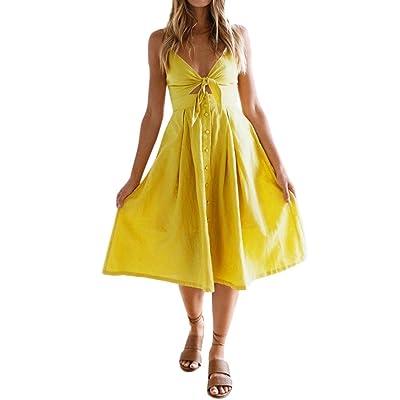 ALIKEEY Femmes La robe de bouton de fête d'été de vacances de Bow Bow Lace femmes Robe sans manches de couleur unie Jupe au genou