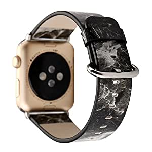 Black Marble Pattern Apple Watch Band 42mm, MagicFeel Printed Soft PU Leather Replacement Band Strap Bracelet for Apple Watch iwatch Series 1 Series 2 Series 3 (White Marble-42mm)