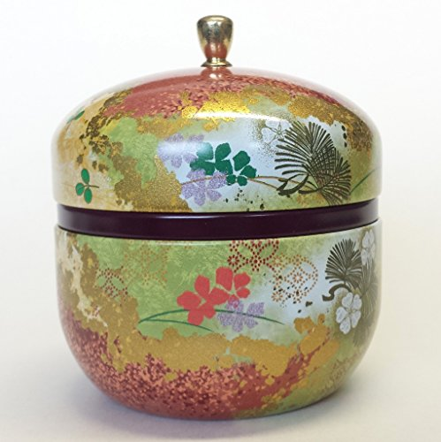 Japanese tea canister tin Suzuko / double lid / air-tight / 3.5 oz (150g) green tea (red) - Japanese Tea Canister