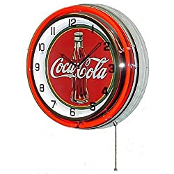 COCA COLA 18 DOUBLE NEON LIGHT CHROME CLOCK BOTTLE SIGN COKE SODA CAN GLASS FOUNTAIN DRINK by Coca-Cola