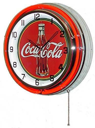 COCA COLA 18 DOUBLE NEON LIGHT CHROME CLOCK BOTTLE SIGN COKE SODA CAN GLASS FOUNTAIN DRINK by Coca-Cola ()