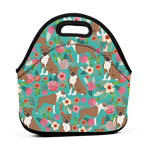(Staffordshire Terrier Florals Dog Cute Dog Sweet Pet Pets Lunch Bag Insulated Thermal Lunch Tote Outdoor Travel Picnic Carry Case Lunchbox Handbags with Zipper)