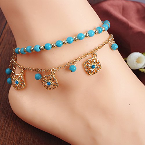 usongs Xin decorative ornaments creative bohemian turquoise beaded tassel diamond faceplate combination Foot Chain anklet ankle chain women girls