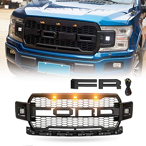 VZ4X4 Black Replacement Grille ABS Front Mesh Grill Fit for 2018-19 Ford F-150 with 3 Amber LED Lights with Wiring Harness Kits and 2 Side LED Lights, Replaceable Letters