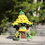 Ivy Home Solar Powered Garden Fairy House Statuary,Yellow Sunflower For Sale