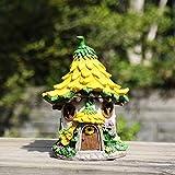 Ivy Home Solar Powered Garden Fairy House Statuary,Yellow Sunflower