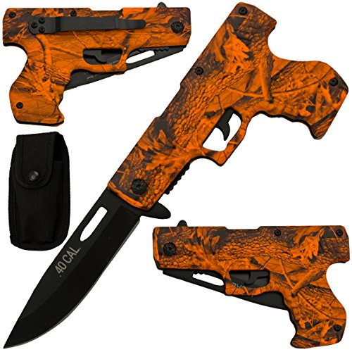 .40 Cal Pistol Gun Assisted Opening Pocket Knife