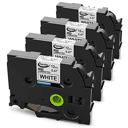 Anycolor 4 Pack Compatible Brother P Touch TZe Label Tape TZe-231 TZe 231 TZe231 1/2 Inch Laminated Black on White for P-touch Labeler PT-D210 PT-H100 PT-D400 PT-D600 (0.47 Inch x 26.2 Feet 12mm x 8m)
