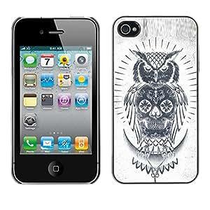 Shell-Star Arte & diseño plástico duro Fundas Cover Cubre Hard Case Cover para Apple iPhone 4 / iPhone 4S / 4S ( Skull Owl Grey Pencil White Native )