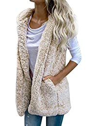 Womens Lapel Open Front Sleeveless Plaid Vest Woolen Cardigan With Pockets