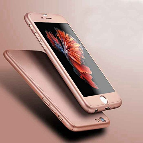 AEMA  TM  360 Degree Apple iPhone 5/5S Front Back Cover Case with Tempered [Rose Gold]
