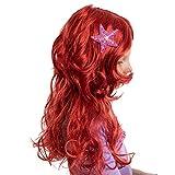 Girls Red Long Curly Mermaid Wig with Star Barrett