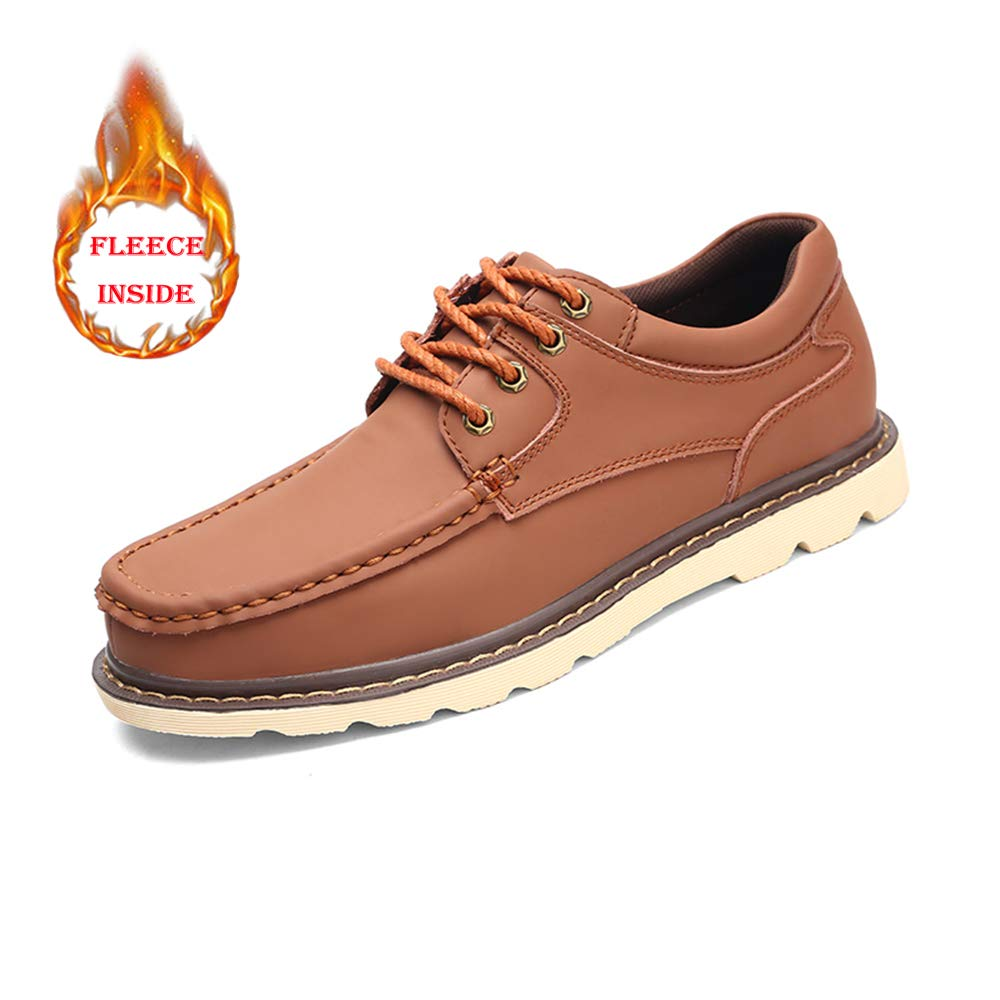 Warm Light Brown XHD-Men's shoes Men's Simple Fashionable Work Oxfords Casual Comfortable Winter Fleece Inside Low Top Leisure Big Size shoes(Conventional Optional)