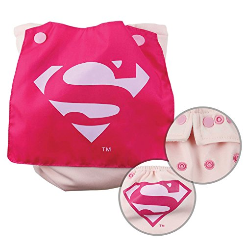 Bumkins Cloth Diaper Snap All-In-One (AIO) or Pocket with Cape, 7-28lbs, DC Comics Superman Pink