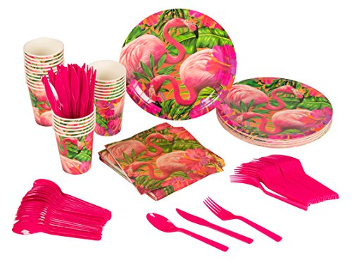 Blue Panda Disposable Dinnerware Set - Serves 24 - Tropical Party Supplies for Birthdays, Flamingo Designs - Includes Plastic Knives, Spoons, Forks, Paper Plates, Napkins, Cups by Blue Panda