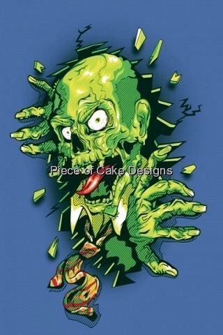 1/4 Sheet ~ Cartoon Zombie ~ Edible Image Cake/Cupcake Topper!!!