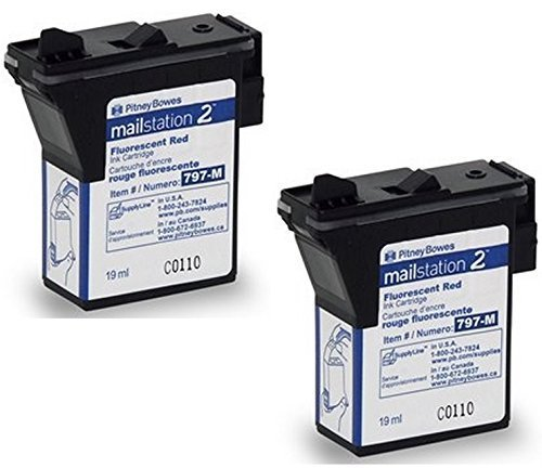 Twin-Pack of Genuine Original Pitney Bowes Brand 797-M Fluorescent Red Ink Cartridges for: MailStation 2 and K7MO Postage Machines