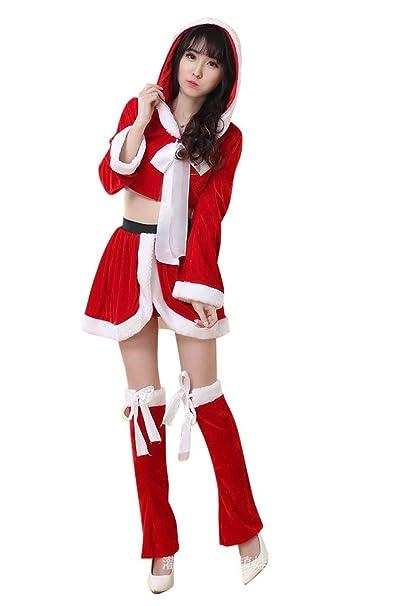 MissFox Costume Babbo Natale Donna Vestiti Di Prestazione Partito Rosso a49e8dfab3e