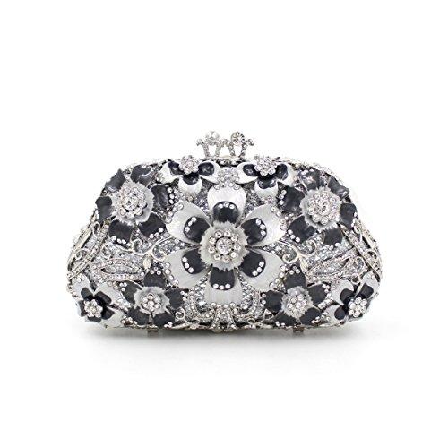 main Mageleo métal strass sac creuse fleur Sac sac clouté sac Bag dames croisé cristal en soirée B de de O1xrqO