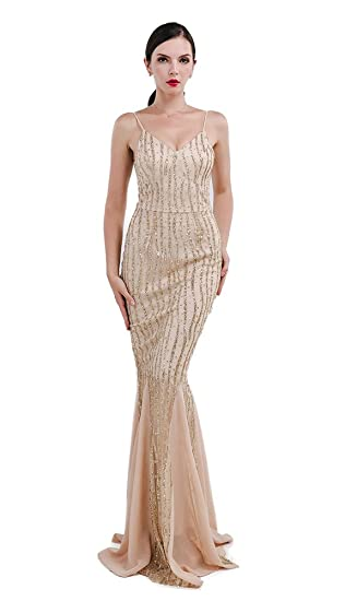 Missord Womens Sleeveless V-Neck Halter Sequin Maxi Prom Cocktail Dress Gold XSmall 6