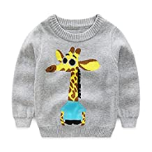 Baby Boys Girls Toddler Round Neck Knitted Cartoon Giraffes Pullover Sweater