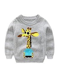 Baby Boys Girls Toddler Round Neck Knitted Cartoon Giraffes Pullover Sweater