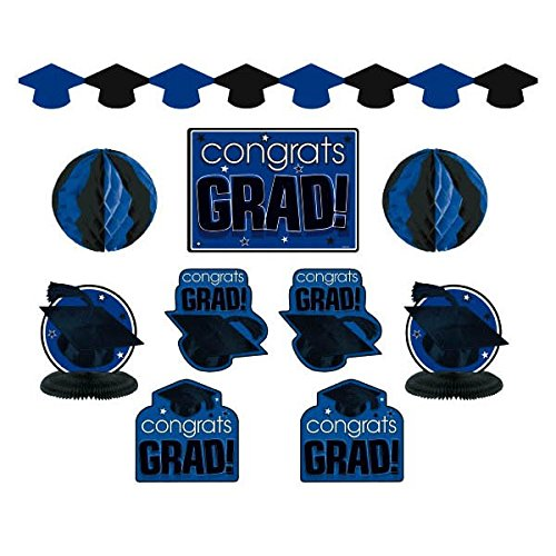 "Amscan ""Congrats Grad!"" Graduation Party Room Decorating Kit (10 Piece), Royal Blue/Black, One Size"