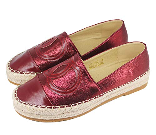 Langou Women's Slip On Loafers Casual Flat Espadrilles Platform Pearl Suede Driving Holiday Shoes Woven Alpargata Red