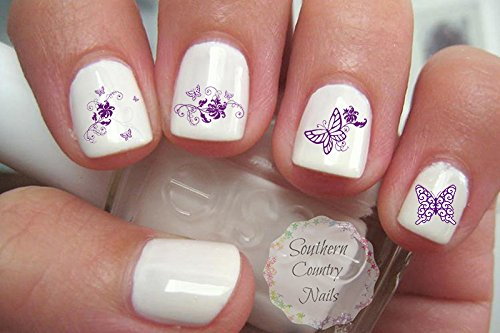Butterflies Nail Art Water Slide Tattoo Decals Butterfly / Floral - (Purple Butterfly Tattoo)