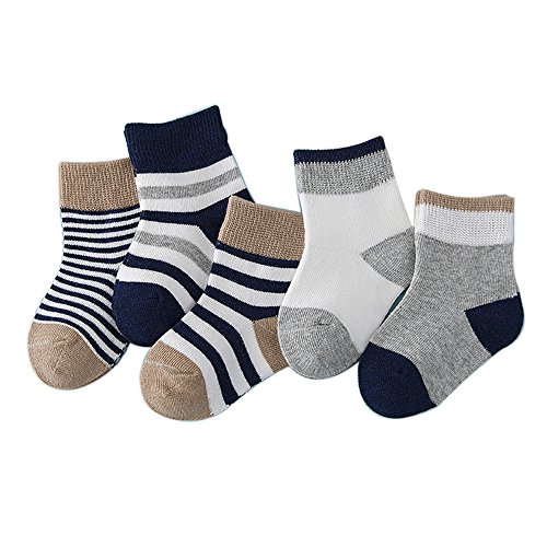 FQIAO Children Sock 4-6 Years 5Pack Cotton Stripe Unisex Autumn Winter