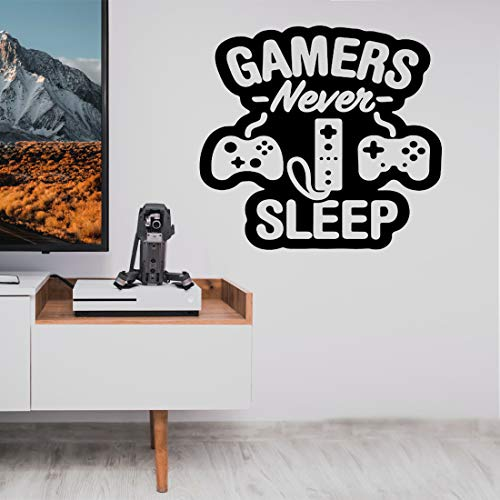 Wall Decals Stickers Gamers Never Sleep for Boys Bedoom Vinyl Sticker Peel and Stick Boys Room Wall Decor Gift for Gamer…