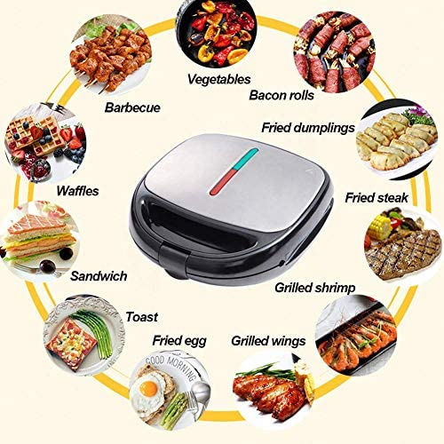 Electric Waffle Maker 5 in 1,Quick Breakfast Multifunctional Iron Machine,Removable Nonstick Plates Premium Baking Pan,for Waffles,Donuts,Sandwich,Steak Panini Gift