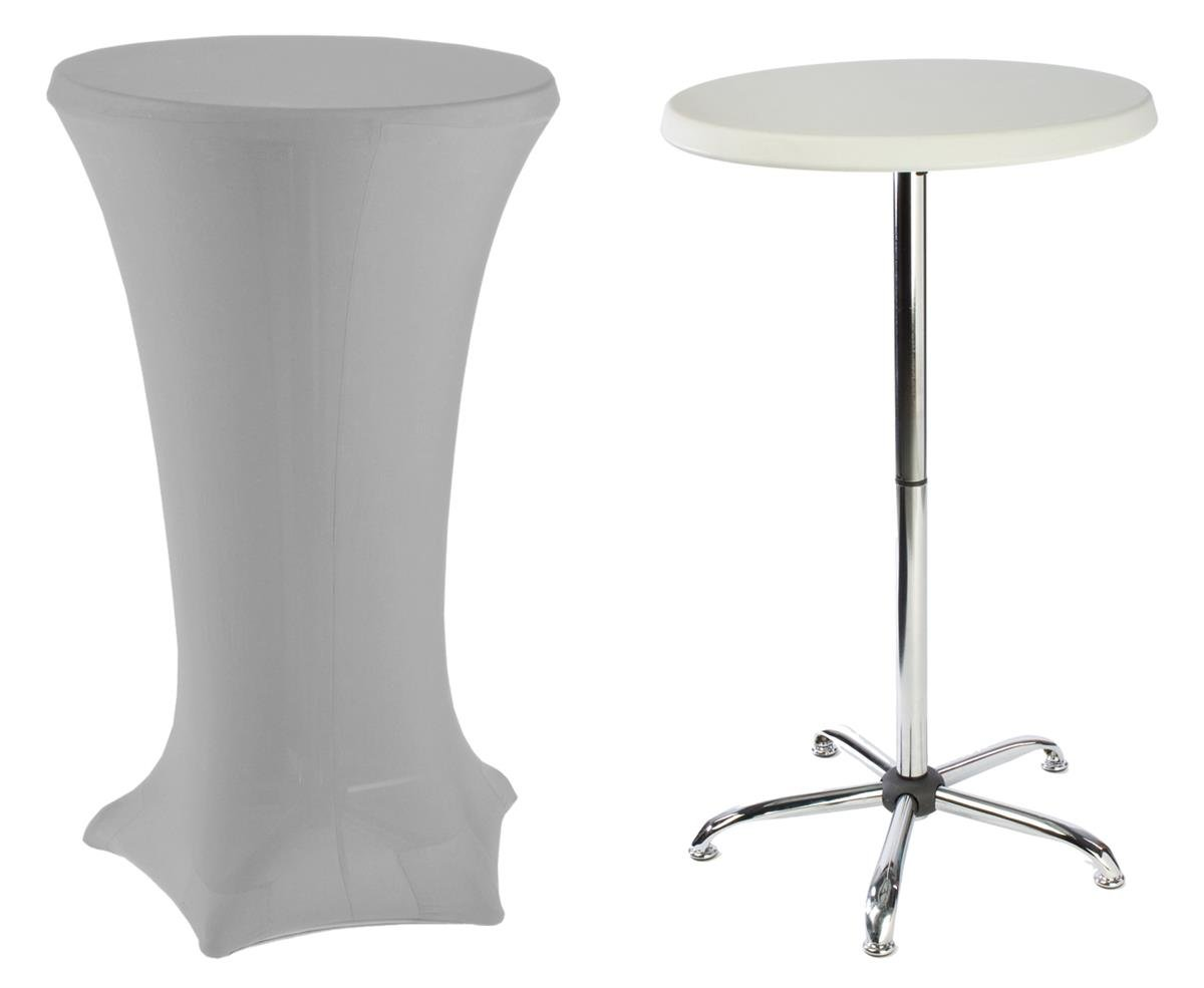 Tall Cocktail Tables Include (1) 47'' High Portable Table and (1) Silver Stretch Fabric Cover.