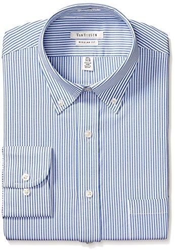 Shirt Classic Stripe Mens (Van Heusen Men's Pinpoint Regular Fit Stripe Button Down Collar Dress Shirt, Blue, 17.5