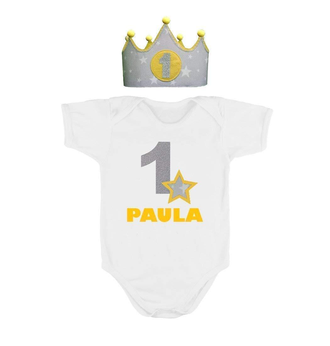 Corona + Body o Camiseta personalizada nombre primer cumpleañ os 1 añ o para niñ as y niñ os amarillo