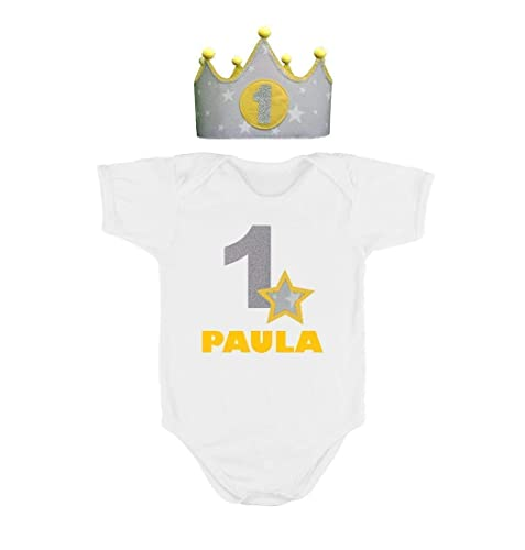 Crown Body Shirt Personalized Name First 1st Birthday 1 One Year Old For Baby Girl Boy Kids Children Toddler Color Yellow Amazoncouk Handmade